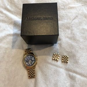 Michael Kors women's gold with blue face watch